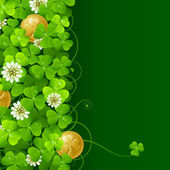 Clover glade and golden coins — Stockvector