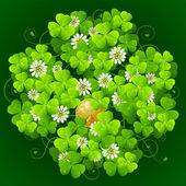 Clover glade in the shape of quatrefoil — Stockvector