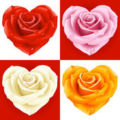 Roses in the shape of heart — Stock Vector