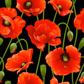 Seamless background: poppy — Stock Vector