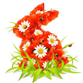 Vector spring flowers in the shape of Easter Rabbit — Stock Vector