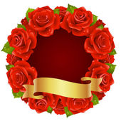 Vector red Rose Frame in the shape of round — Stock Vector