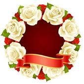 Róża rama wektor w kształt okrągły — Wektor stockowy