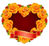 Vector orange Rose Frame in the shape of heart — Vettoriale Stock