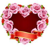 Vektor rosa rose rahmen in form von herzen — Stockvektor