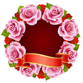 Vector pink Rose Frame in the shape of round — Stock Vector