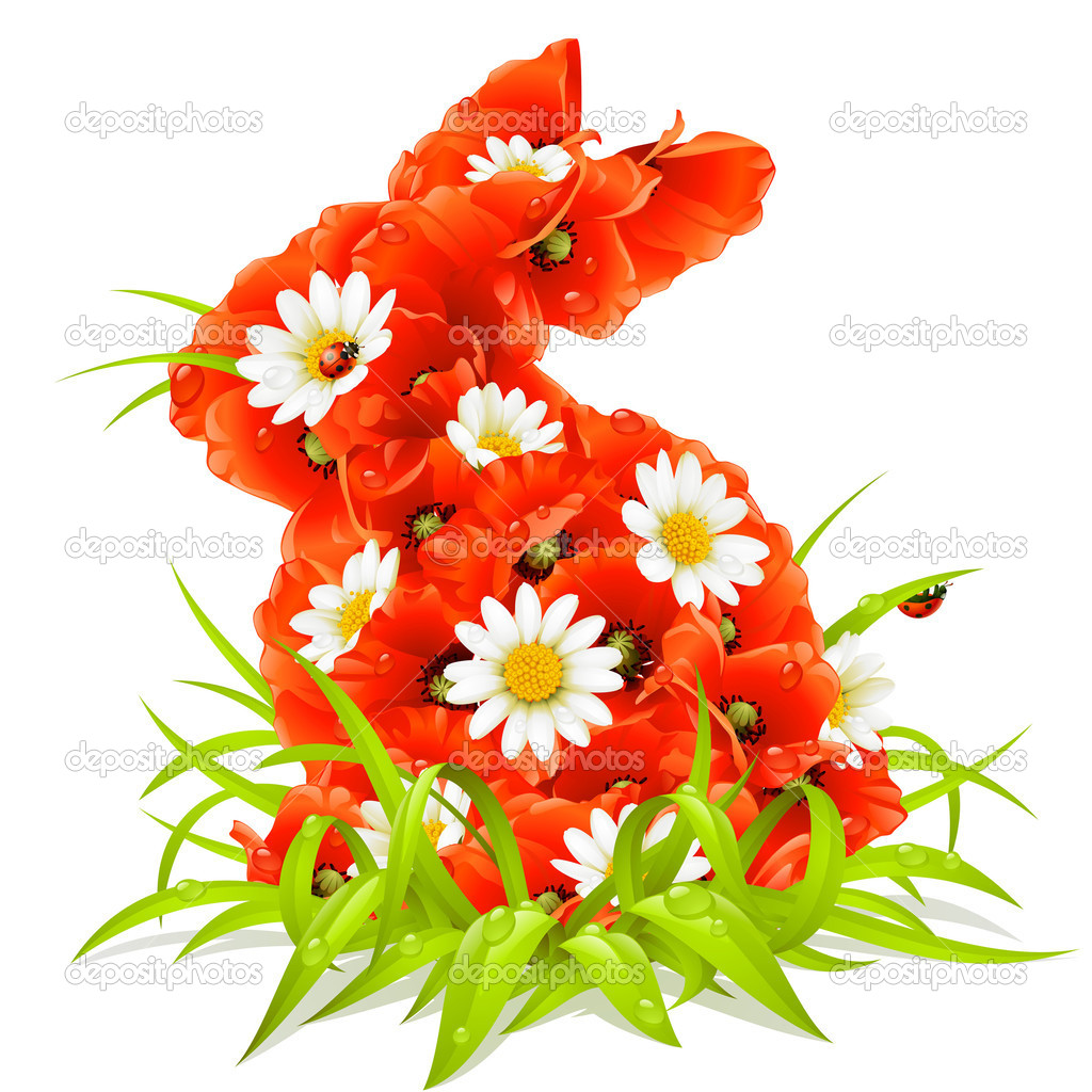 Vector spring flowers in the shape of Easter Rabbit  Stock Vector #4211625