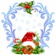 Christmas and New Year greeting card 4. Santa hat, candy cane and holly - Stock Vector