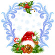 Royalty-Free Stock Vektorový obrázek: Christmas and New Year greeting card 4. Santa hat, candy cane and holly