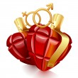 Royalty-Free Stock Vector Image: Two grenade hearts
