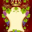 Vector grape frame with crown — Imagen vectorial
