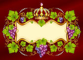 Vector grape frame with crown — Stock Vector