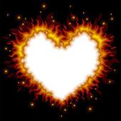 Fiery heart card — ストックベクタ