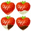 Strawberry in the shape of heart — Stock Vector