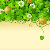 St. Patrick's Day frame with clover and golden coin 3 — Stockvector