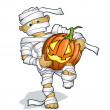 Boy in a halloween costume with a pumpking — Stock Vector