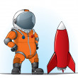 Astronaut whith a rocket — Stock Vector