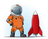 Astronaut whith a rocket — Stock Vector
