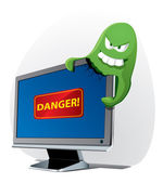 Virus attacks the computer — Stock Vector