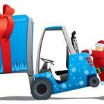 Santa med ett jul-loader — Stockvektor
