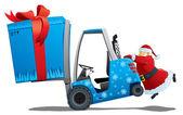 Santa with a christmas loader — Stock Vector