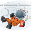 Stock Vector: Astronaut in the space ship