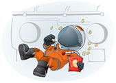 Astronaut in the space ship — Stock Vector