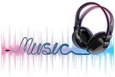 Neon pulsing music headphones — Stock Vector