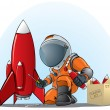 Stock Vector: Astronaut mending rocket