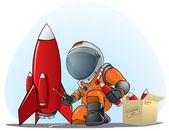 Astronaut mending the rocket — Stock Vector