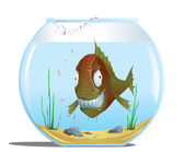 Evil fish in the aquarium — Stock Vector