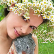 Young woman with a little bunny - Stock Photo