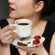 Woman holding a cup of black coffee — Stock Photo #5135534