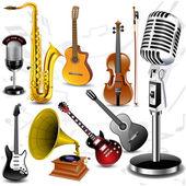 Vektorové hudební nástroje — Stock vektor