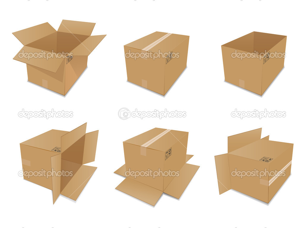 Set of vector cardboard boxes over white background — Stock Vector #4147960