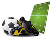 Soccer boots and ball — Stock Vector