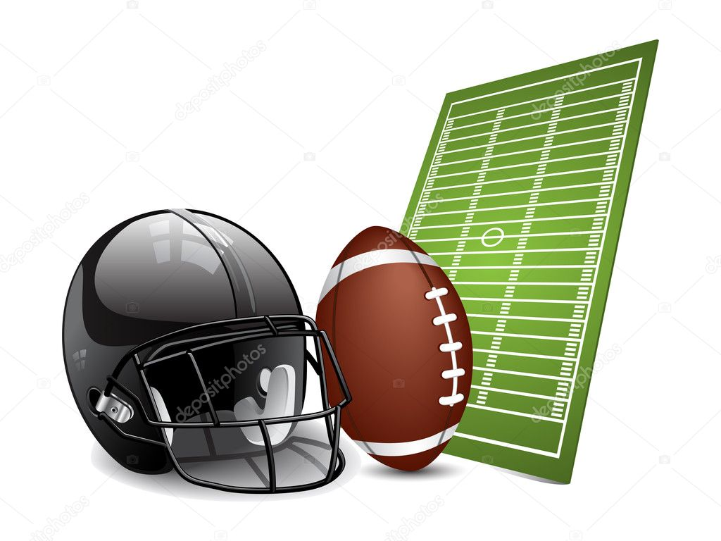 American football design elements - field, ball and football helmet. Vector illustration — Grafika wektorowa #4697539