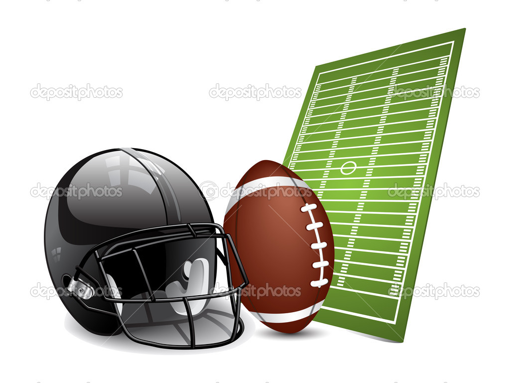 American football design elements - field, ball and football helmet. Vector illustration — Векторная иллюстрация #4697539