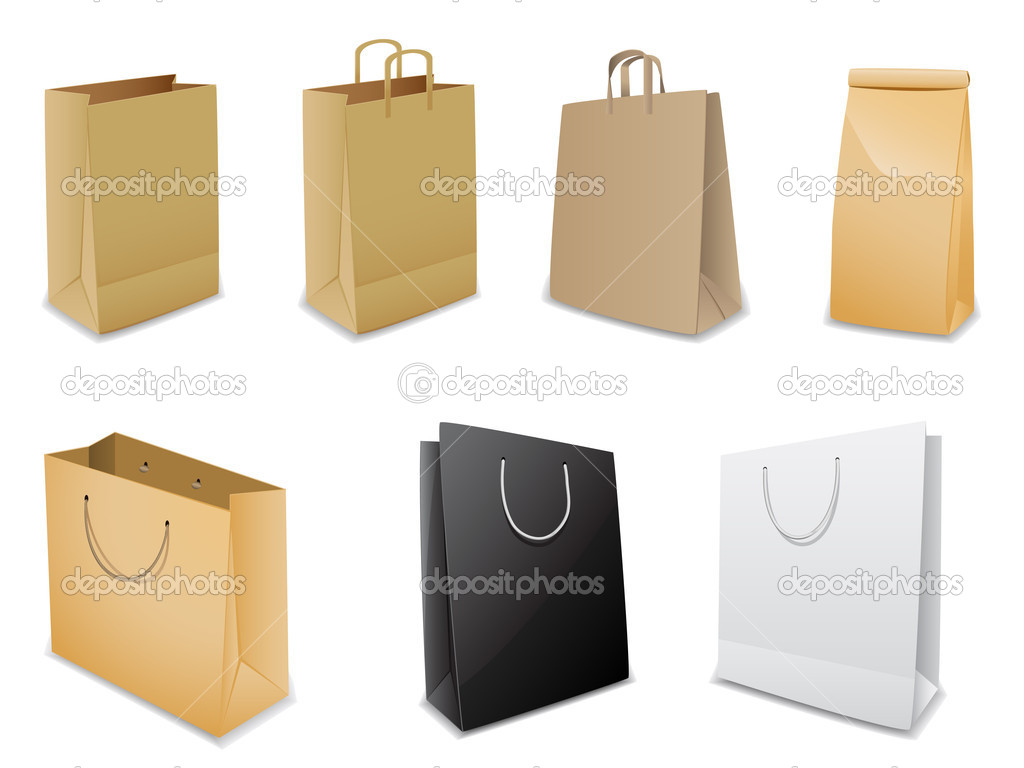 Set of vector illustration paper bags over white background — Stock Vector #4762175