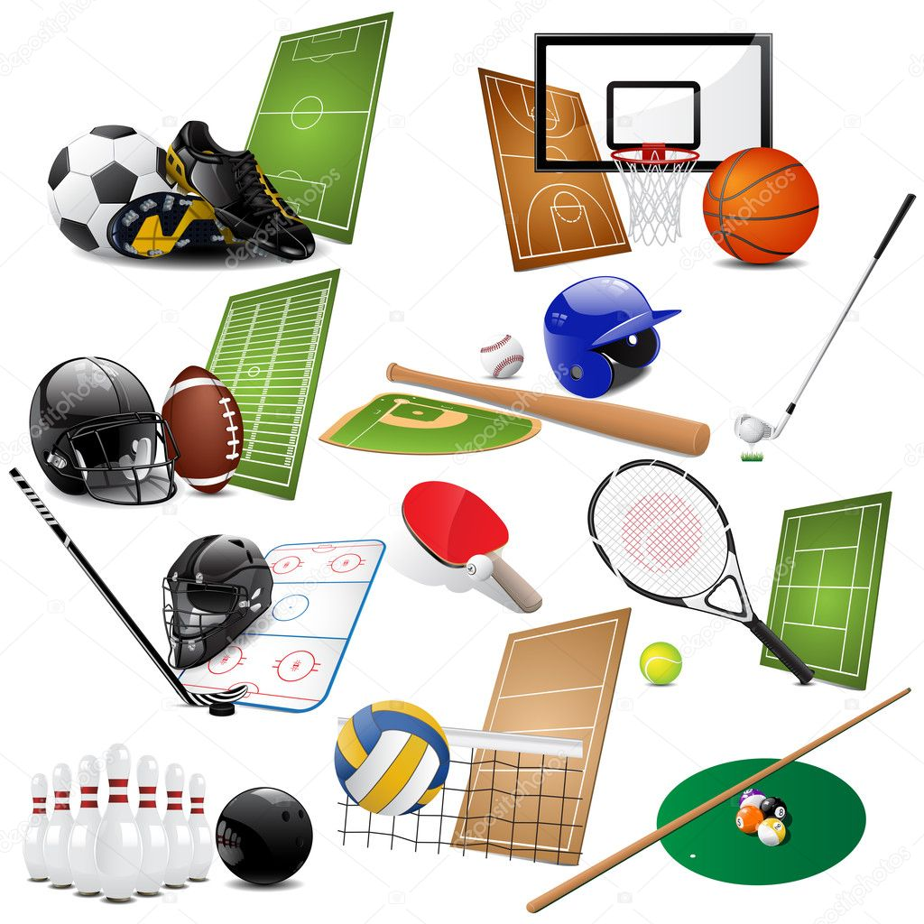 Vector illustration of different sport icons  Vettoriali Stock  #4823325