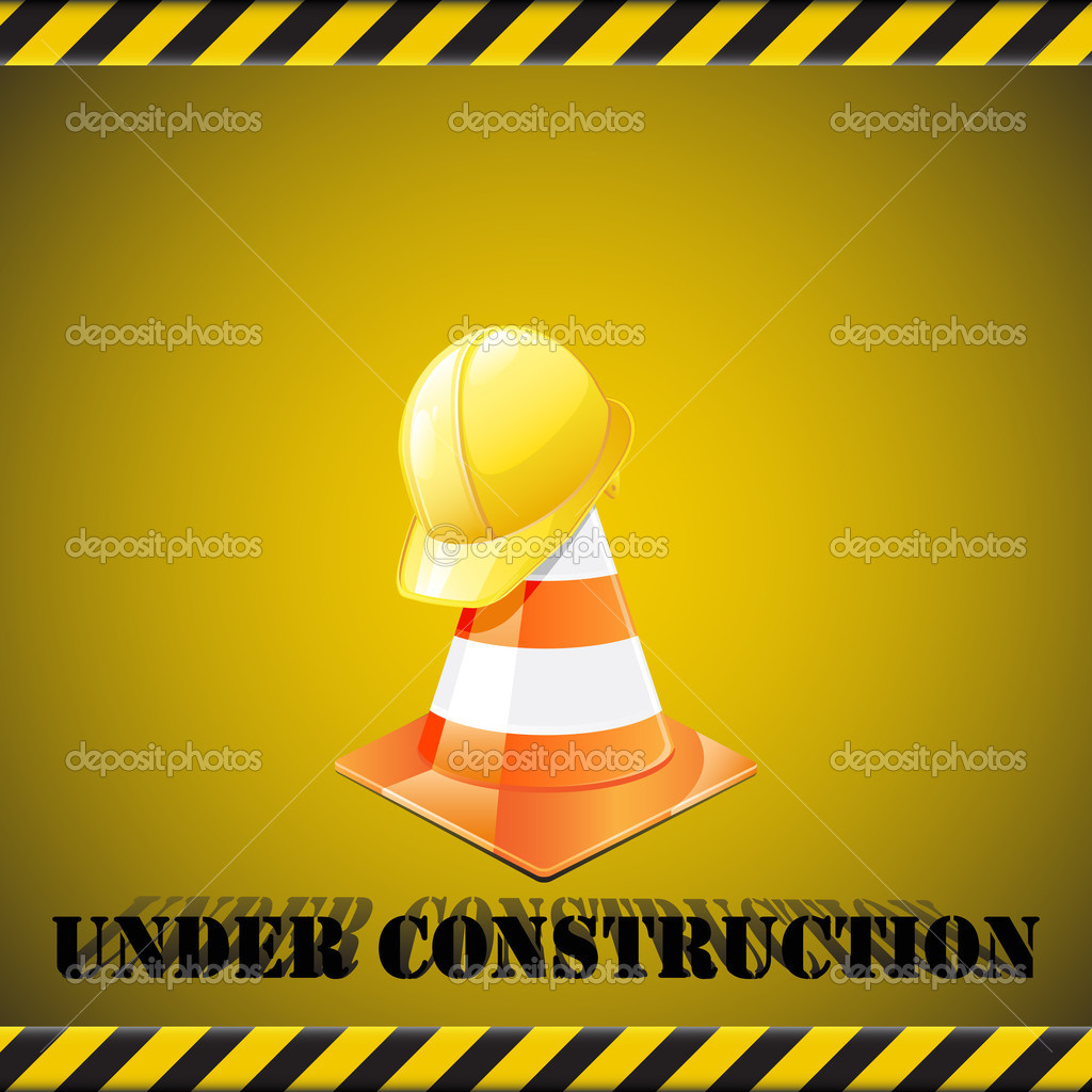 Under construction background - traffic cones  with safety helmet. Vector illustration — Stock Vector #4823365