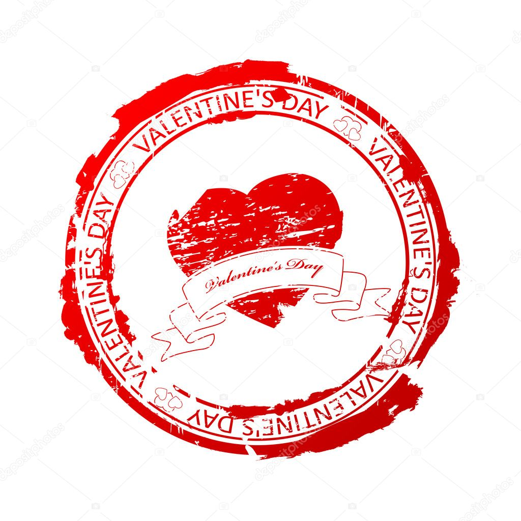 Vector illustration of red rubber stamp for Valentine's Day — Stock Vector #4875651