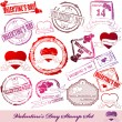 Vector Set of Valentine Day stamps — Stock Vector