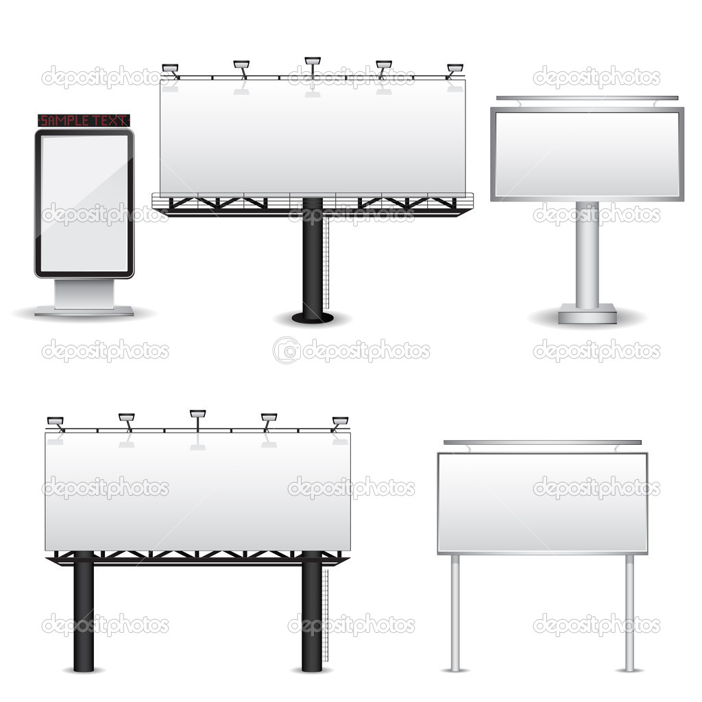 Set of different billboards isolated on white background. Vector illustration — Stock Vector #4979792