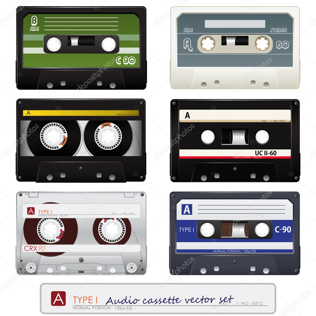 Collection of audio cassettes over white background. Vector illustration — Stock Vector #5236651