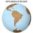 South america on the earth — Stock Vector