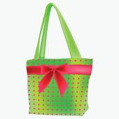 Green retro hand bag — Stock Vector