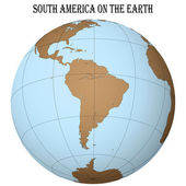 South america on the earth — Vector de stock