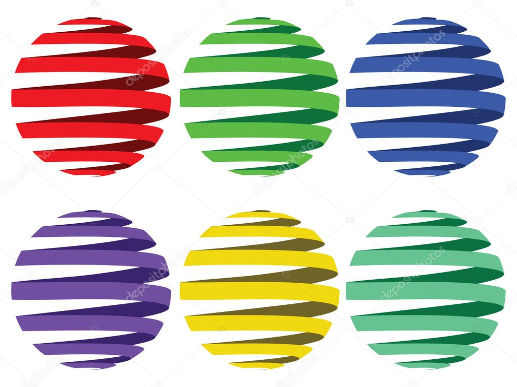 Sphere ribbons against white background, abstract vector art illustration  Stock Vector #4012948
