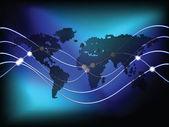 Círculos de fundo de mapa do mundo — Vetor de Stock